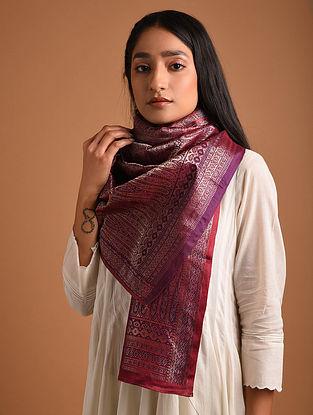 Maroon Benarasi Brocade  Silk Stole