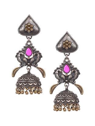 Pink Dual Tone Tribal Jhumki Earrings