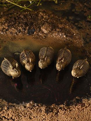 Handmade Brass Rabbits (Set of 5) (L - 2.5in, W - 1.2in, H - 1.3in)