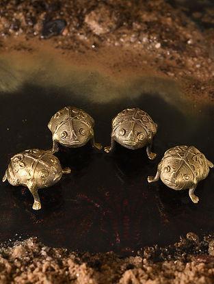 Handmade Brass Frogs (Set of 4) (L - 1.5in, W - 1.1in, H - 0.6in)