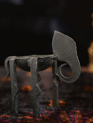 Handmade Iron Elephant Cancle Stand (L - 4in, W - 1.7in, H - 3.5in)
