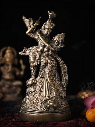 Handmade Brass Radha Krishna Figure (L - 3.3in, W - 6in, H - 12.2in)
