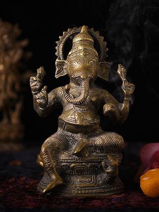 Handmade Brass Ganesha Figure (L - 3.5in, W - 6.2in, H - 9.3in)