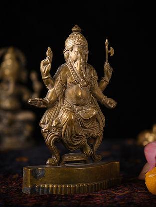Handmade Brass Ganesha Figure (L - 1.2in, W - 5.6in, H - 9in)
