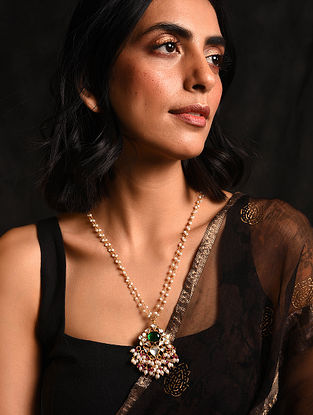 Green Gold Tone Kundan Silver Necklace with Pearls