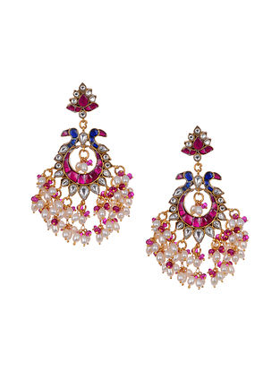 Pink Blue Gold Tone Kundan Silver Earrings with Pearls
