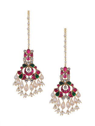 Pink Green Gold Tone Kundan Silver Earrings with Pearls