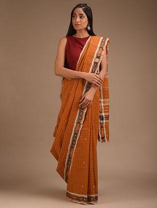 Brown Handwoven Ikat Cotton Saree