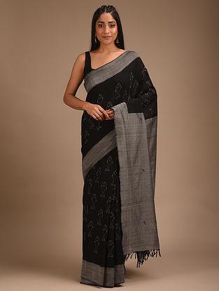 Black Handwoven Ikat Cotton Saree