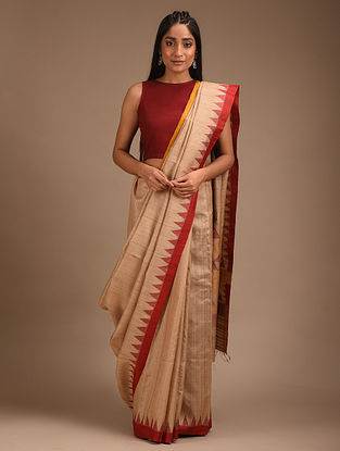 Beige Handwoven Tussar Silk Saree