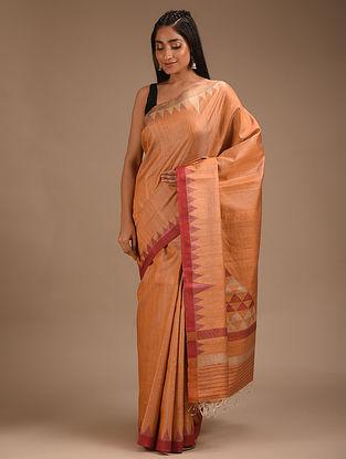 Peach Handwoven Tussar Silk Saree