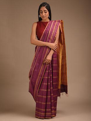 Purple  Handwoven Ikat Tussar Silk Saree