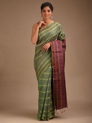 Green Handwoven Ikat Tussar Silk Saree