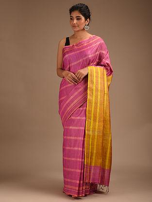 Pink Handwoven Tussar Silk Cotton Saree