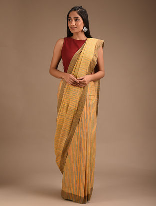 Biege Handwoven Cotton Eri Silk Saree