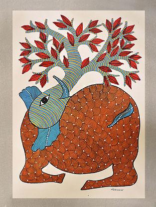 Multicolored Handpainted Gond Art Work (L - 14in, W - 10in)
