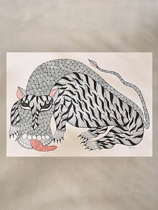 Multicolored Handpainted Gond Art Work (L - 14in, W - 20in)