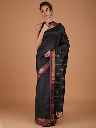 Black Handwoven Silk Saree