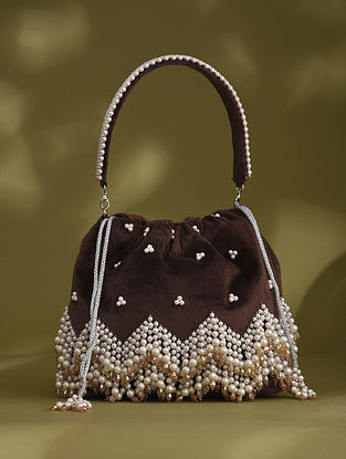 Brown Handcrafted Beaded Velvet Potli