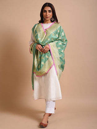 Green Handwoven  Benarasi Silk Dupatta