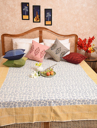 Multicolored Hand Block Printed Queen Bedspread (L- 104in, W-68in)