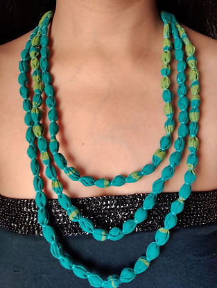 Blue Handcrafted Fabric Necklace