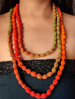 Orange Green Handcrafted Fabric Necklace