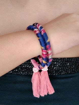 Blue Pink Handcrafted Fabric Bangles With Tassels