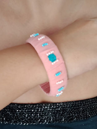 Pink Blue Embroidered Fabric Bangles