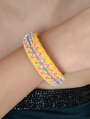Yellow Blue Embroidered Fabric Bangles