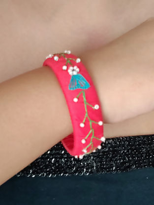 Red Embroidered Fabric Bangles