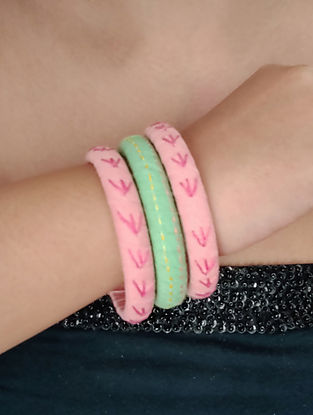 Pink Green Embroidered Fabric Bangles
