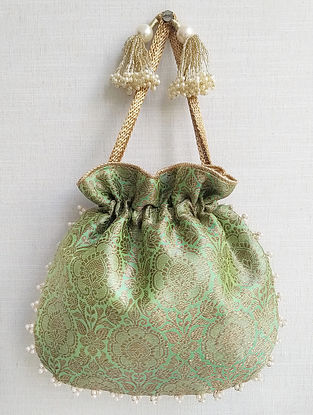 Green Handcrafted Banarasi Silk Potli