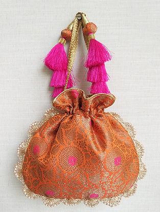Orange Handcrafted Banarasi Silk Potli