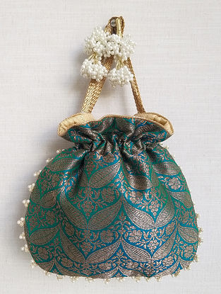 Sea Green Handcrafted Banarasi Silk Potli