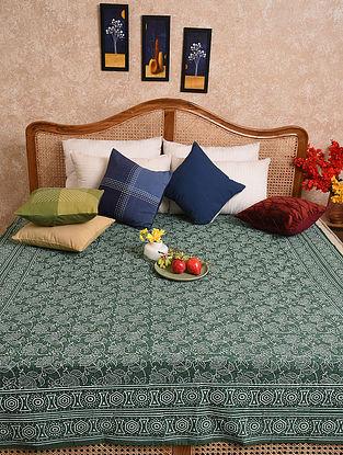 Multicolored Hand Block Printed Queen Bedspread (L- 86in, W-70in)