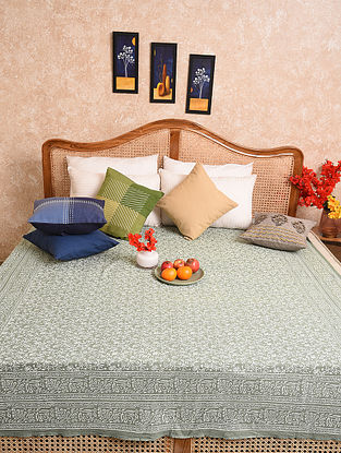 Multicolored Hand Block Printed Queen Bedspread (L- 88in, W-70in)