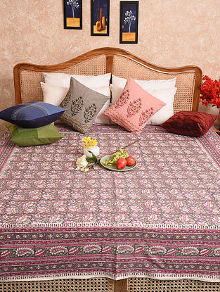 Multicolored Hand Block Printed Queen Bedspread (L- 79in, W-76in)