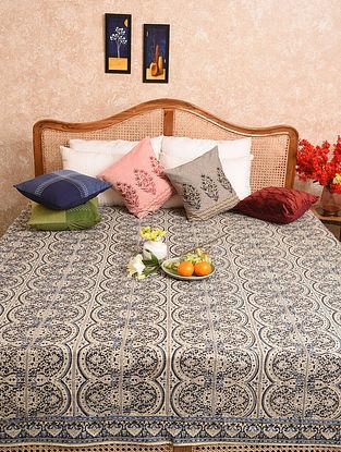 Multicolored Hand Block Printed Queen Bedspread (L- 80in, W-80in)