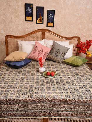 Multicolored Hand Block Printed Queen Bedspread (L- 88in, W-88in)