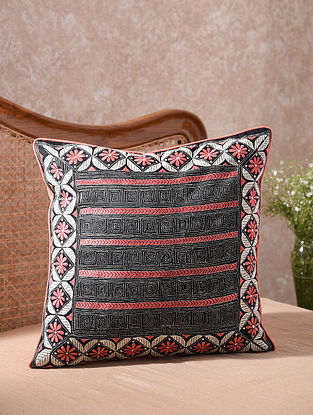 Black and Peach Kantha Embroidered Cushion Cover (L - 20in, W - 20in)