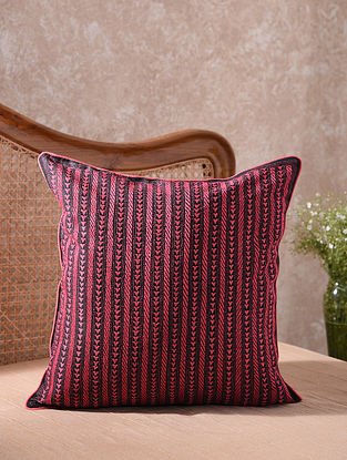 Black and Pink Kantha Embroidered Cushion Cover (L - 20in, W - 20in)