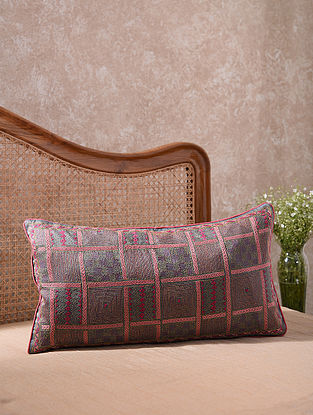 Grey and Pink Kantha Embroidered Aesthetically Gridded Cushion Cover (L - 26in, W - 14in)
