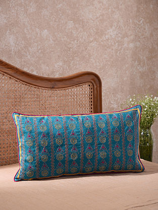 Blue Kantha Embroidered Pretty Bow and Circles Cushion Cover (L - 26in, W - 14in)