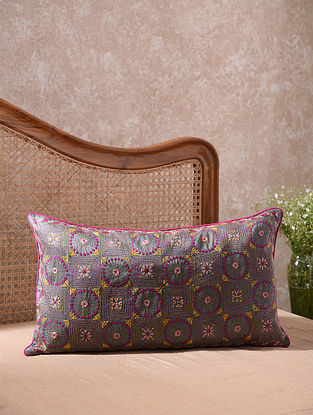 Ash Kantha Embroidered Pretty Circles and Squares Cushion Cover (L - 26in, W - 14in)