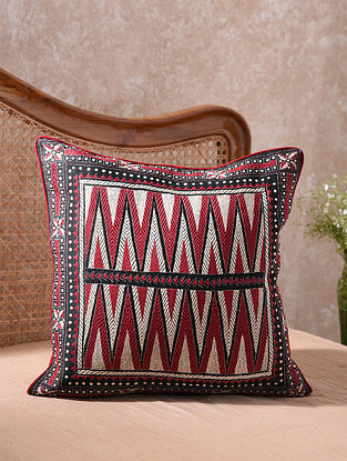 Black Kantha Embroidered Boho Cushion Cover (L - 20in, W - 20in)
