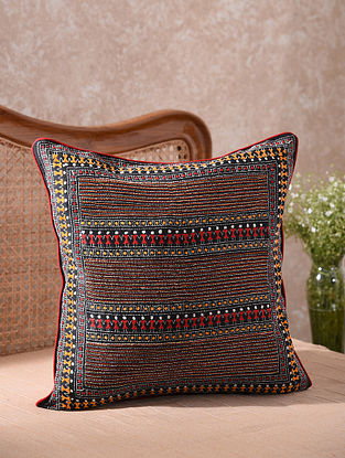 Black Kantha Embroidered Folklore Cushion Cover (L - 20in, W - 20in)