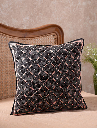 Black Kantha Embroidered Geometric Cushion Cover (L - 18in, W - 18in)