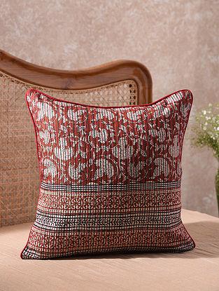 Maroon Kantha Embroidered Bagru Blocks Cushion Cover (L - 18in, W - 18in)