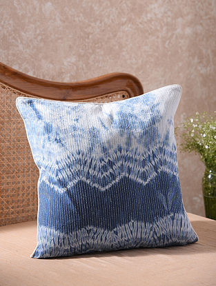 Blue and White Kantha Embroidered Shibori Cushion Cover (L - 20in, W - 20in)